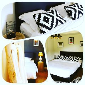 A bed or beds in a room at villa les champs de knokke