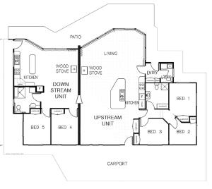 The floor plan of Arthur Riverfront and Sea Lodge downstream