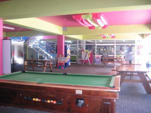 A billiards table at Adventurers Backpackers