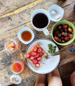 Breakfast options available to guests at Les Rizieres Lombok
