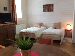 A bed or beds in a room at Appartement Domaine de la Freslonnière