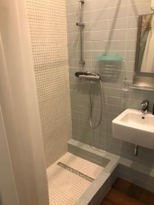 A bathroom at studio white