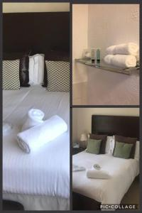 A bed or beds in a room at Rustington Manor Hotel