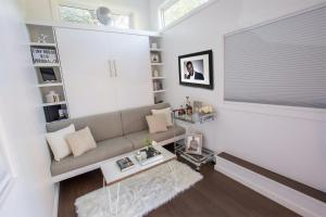"""A seating area at Kevin Hart's """"Tiny House with Big Personality"""""""