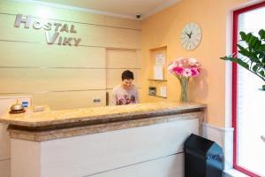 The lobby or reception area at Hostal Viky