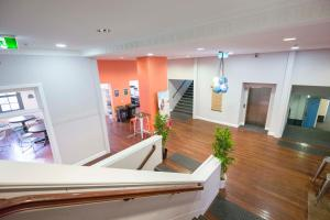 The lobby or reception area at Perth City YHA