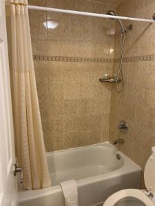 A bathroom at Lombard Plaza Motel