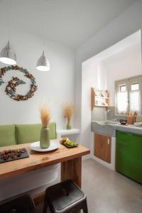 A kitchen or kitchenette at Halcyon Suites and Villas Naxos