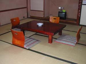 A seating area at Yamanokami Onsen
