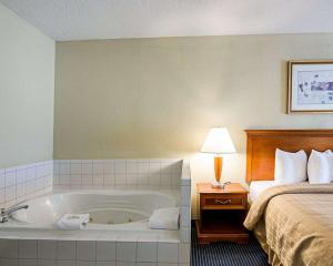 A bathroom at Quality Inn Troutville - Roanoke North