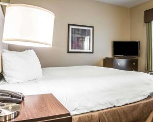A bed or beds in a room at enVision Hotel Boston-Longwood, Ascend Hotel Collection