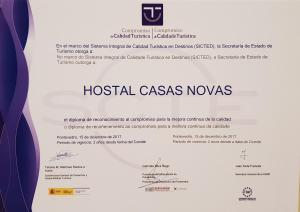 A certificate, award, sign, or other document on display at Hostal CASASNOVAS