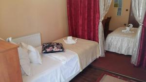 A bed or beds in a room at Hotel Isabell Győr