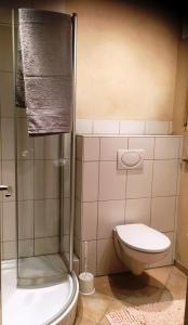 A bathroom at Gemütliche FeWo mit Terrasse am Wald