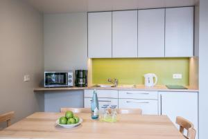 A kitchen or kitchenette at Green City Hotel Vauban