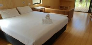 A bed or beds in a room at Bimbi Park - Camping Under Koalas
