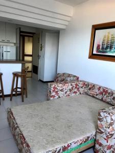 Cama ou camas em um quarto em Flat Vista Mar em Ótima Localização na Pituba