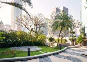 A garden outside Ocean Hotel
