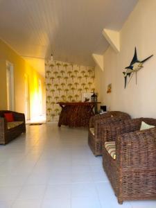 A seating area at Flor do Cacau
