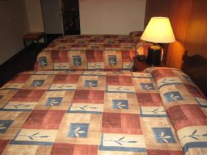 A bed or beds in a room at Downtowner Motor Inn