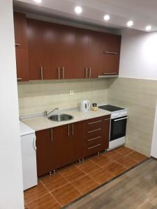 A kitchen or kitchenette at Airport Stay Apartment