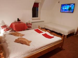 Łóżko lub łóżka w pokoju w obiekcie Polakówka