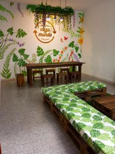 Cama o camas de una habitación en Hostel Vagamundo