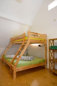 A bunk bed or bunk beds in a room at Nengshof Ferienhaus Gänseblümchen