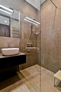 A bathroom at City Center loft