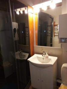 A bathroom at Manoir Le Cristal - Futuroscope