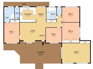 The floor plan of Rosa House in Broke, 4br House in walking distance to Cellar Doors