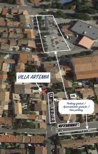 A bird's-eye view of Villa Artemia