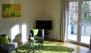 TV a/nebo společenská místnost v ubytování Hochwertiges Apartment im Grünen, zentral gelegen, ruhig, Balkon