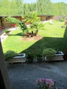 A garden outside Albergue San Pelayo