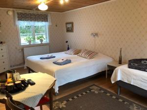 Säng eller sängar i ett rum på Stakaberg Konferens & Gårdshotell