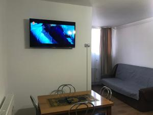 A television and/or entertainment center at Garsoniera Luigy