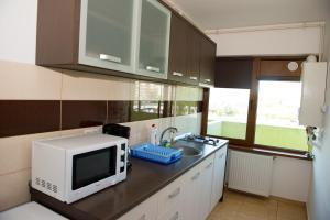 O bucătărie sau chicinetă la Arlequin Apartments