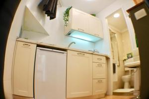 A kitchen or kitchenette at Amorino Apartman Studio