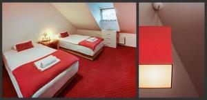 Łóżko lub łóżka w pokoju w obiekcie Restauracja Sidło