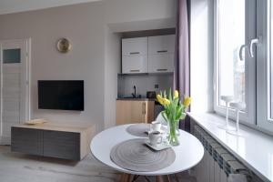 A television and/or entertainment center at Apartamenty Old Town Bednarska