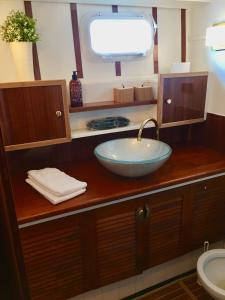 A bathroom at Motor yacht
