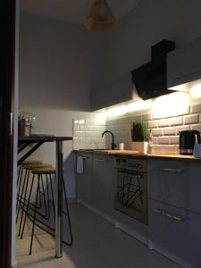 A kitchen or kitchenette at MARZEC Apartamenty