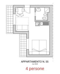 The floor plan of La Tonalina 55