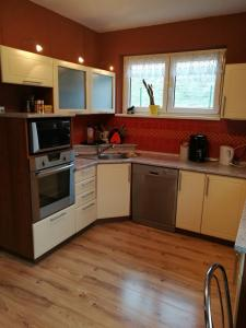 A kitchen or kitchenette at Nature Apartments