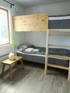 A bunk bed or bunk beds in a room at Ålebro stugby och camping