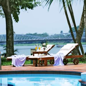 The swimming pool at or close to Century Riverside Hue