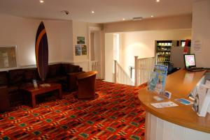 The lobby or reception area at Berties Lodge