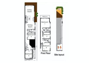 The floor plan of Magnificent Orange Beach House on Bondi Beach!