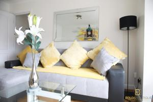 A seating area at Bold and Boutique Chester Luxury Apartment - The Clock Tower