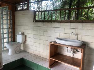 A bathroom at Santorini Village